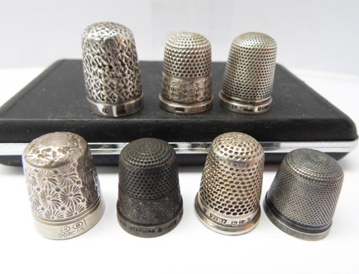 Collection of hallmarked silver thimbles, incl. Charles Horner