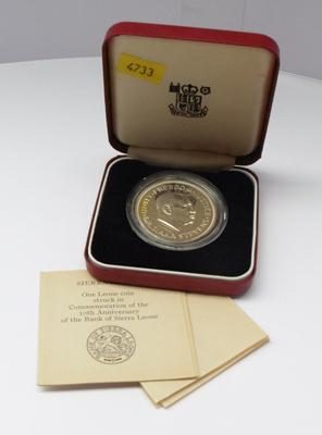 Bank of Sierra Leone 1964-1974 silver one Leone coin, 10th anniversary