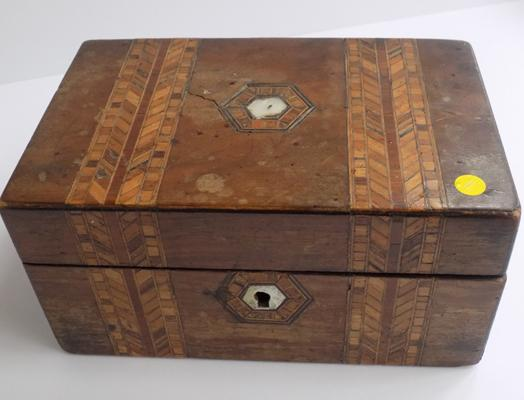 Inlaid wood and mother of pearl tea caddy
