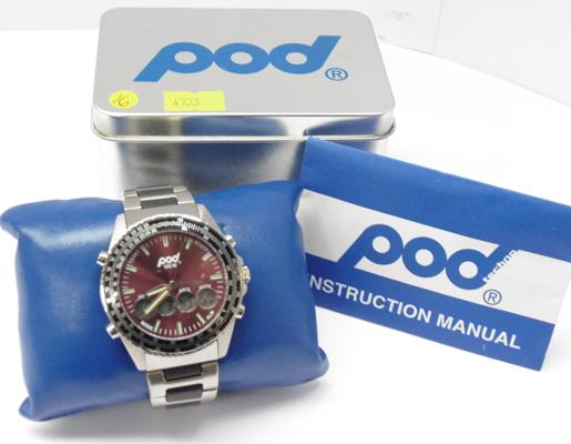 POD watch, POD 523, alarm & chronograph in original tin box