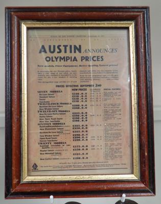 Austin Olympia price list - framed