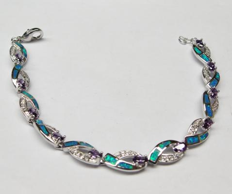 "925 silver amethyst, topaz and opal bracelet 71/2"" long"