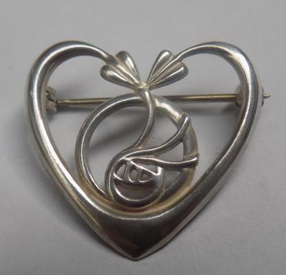 Silver Rene Mackintosh style heart brooch