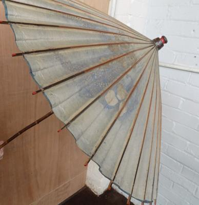 Antique parasol, handle with wooden lattice inner construction, C1900