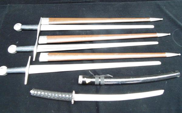 4 swords - 1 samurai and 3 medieval broad swords