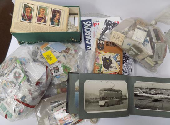 Cigarette cards, postcards, match book and other collectables