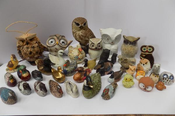 Selection of duck ornaments and owl ornaments