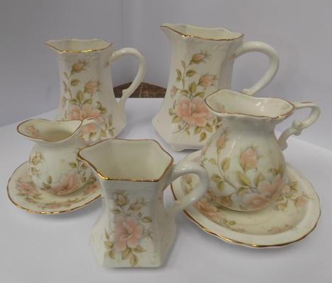 Selection of Fenton china jugs + miniature wash stand jugs