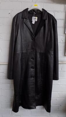 Ladies full length leather coat, size 14-16, brand new
