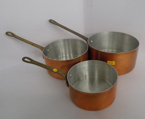 Set of three vintage French copper pans