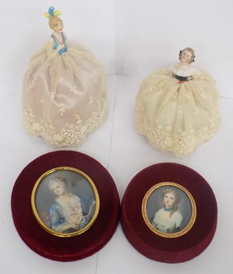 Two pin cushions & 2 miniature pictures