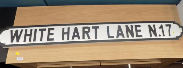 Wooden White Hart Lane sign
