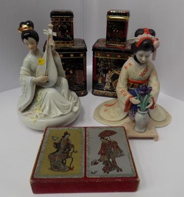 Selection of Japanese decorated items, tins, card etc.