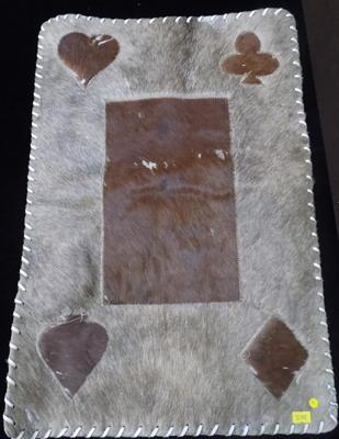 Vintage French cow hide playing card rug/mat