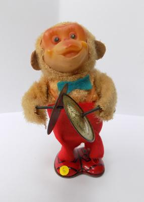 "Tin plate 1930's clockwork monkey playing symbols - 6"" tall"