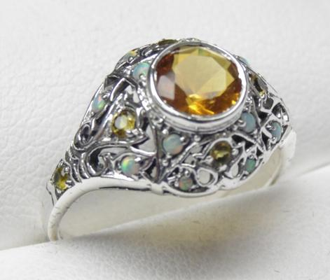 925 citrine and opal vintage style ring size Q