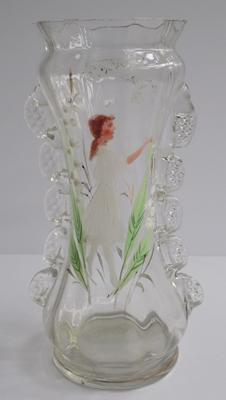 Mary Gregory style antique glass - 7""