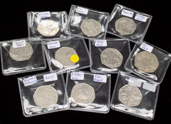 Collection of ten 50p coins