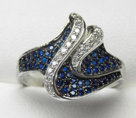 925 silver stylish wave ring sapphire and topaz size R1/2