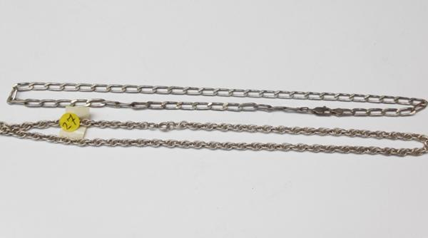 "Two silver chains, long link curb chain & double link - both 18"" long"