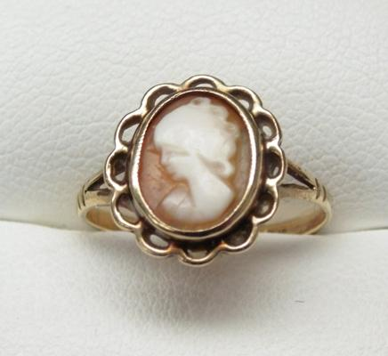 9ct gold cameo ring size K