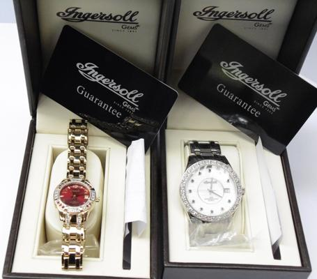 Two Ingersoll watches, gem set, one ladies, gold coloured & one gent's, silver coloured
