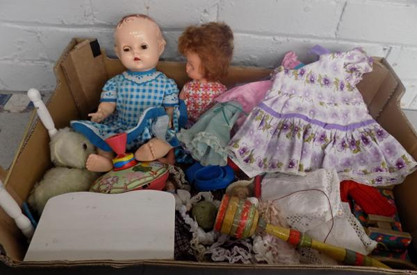 Box of vintage dolls, doll clothes & toys