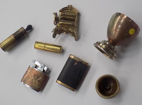 Four vintage lighters and brass items