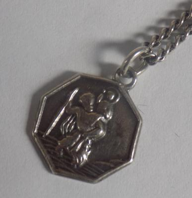 Silver St Christopher pendant on chain
