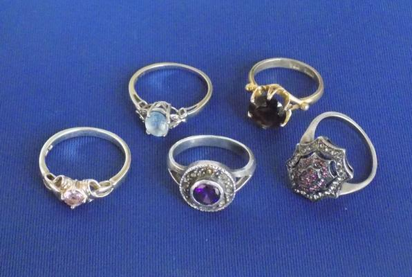 Collection of rings including silver