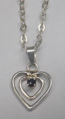 925 silver heart necklace with sapphire stone - approx 16""