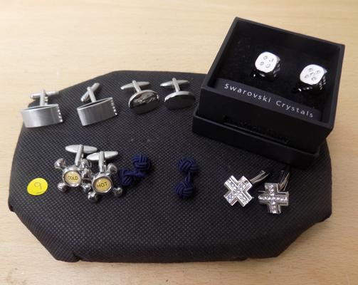 Selection of 6 pairs of men's cuff links, incl. Swarovski crystal
