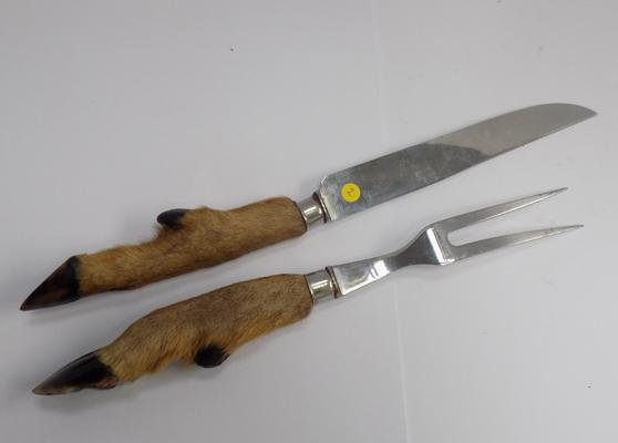 Taxidermy deer hoof carving knife and fork