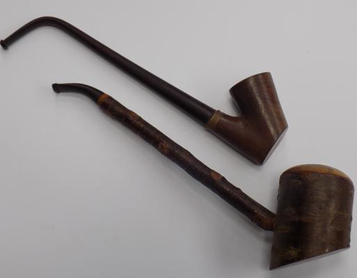 Two vintage cherry pipes
