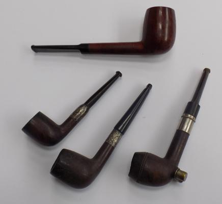 Four vintage pipes, incl silver cuffed