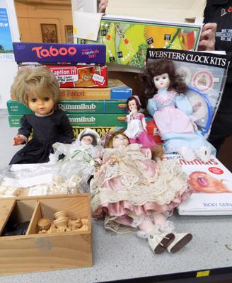 Box of vintage toys, games and dolls mainly 1960's