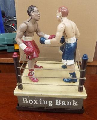 Cast iron Boxing money bank