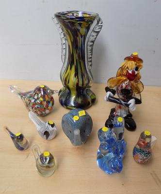 Large selection of vintage blown glass, incl Murano