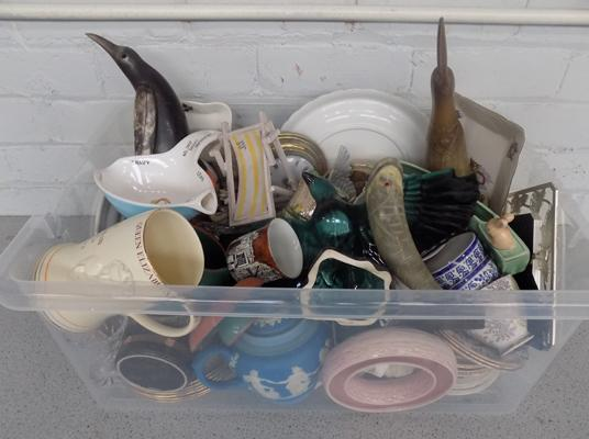 Large box of mixed collectables incl. named pottery etc.