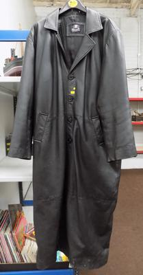 Soft black leather Goth full length coat, size 3XL