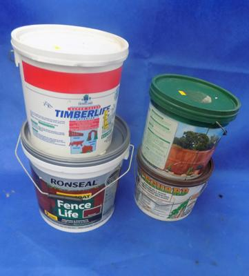 x4 tubs of Fence Life fence paint