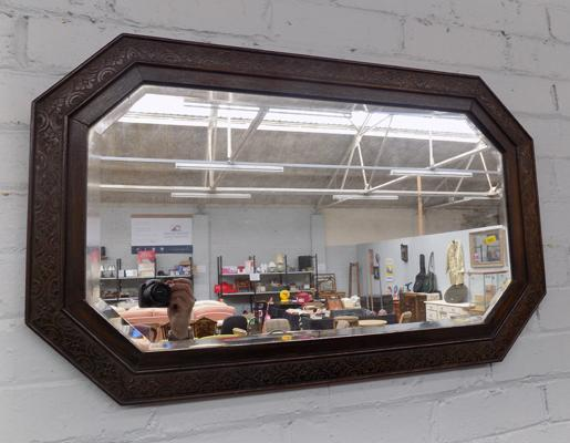 Oak framed bevel edged mirror