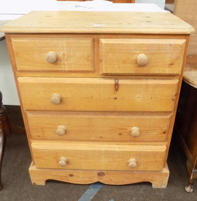 2 over 3 small pine chest of drawers