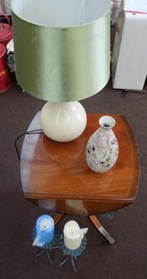 Occasional table with lamp, vase & candle holder