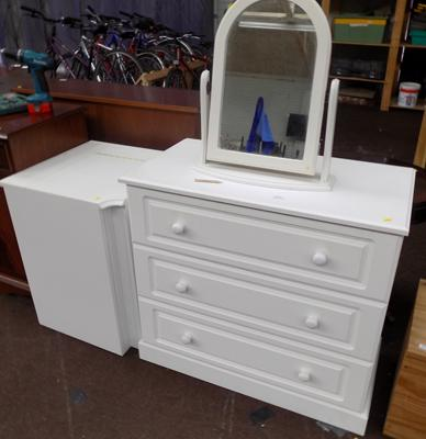 3 drawer unit, corner unit and mirror