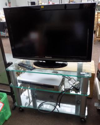Panasonic TV and stand and DVD player