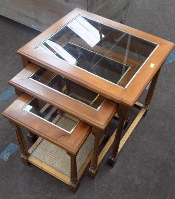 Glass top nest of three tables