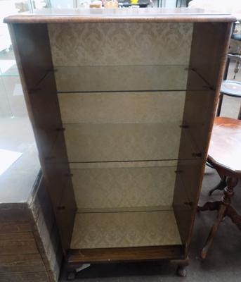 Three shelf wooden display cabinet