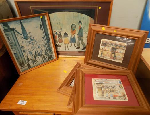 Two Lowry prints (1 signed) + four old shop scene prints, all vintage