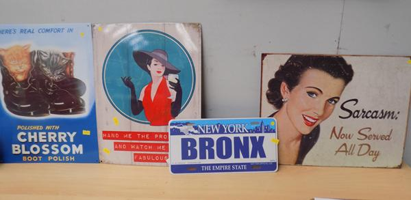Selection of vintage metal signs